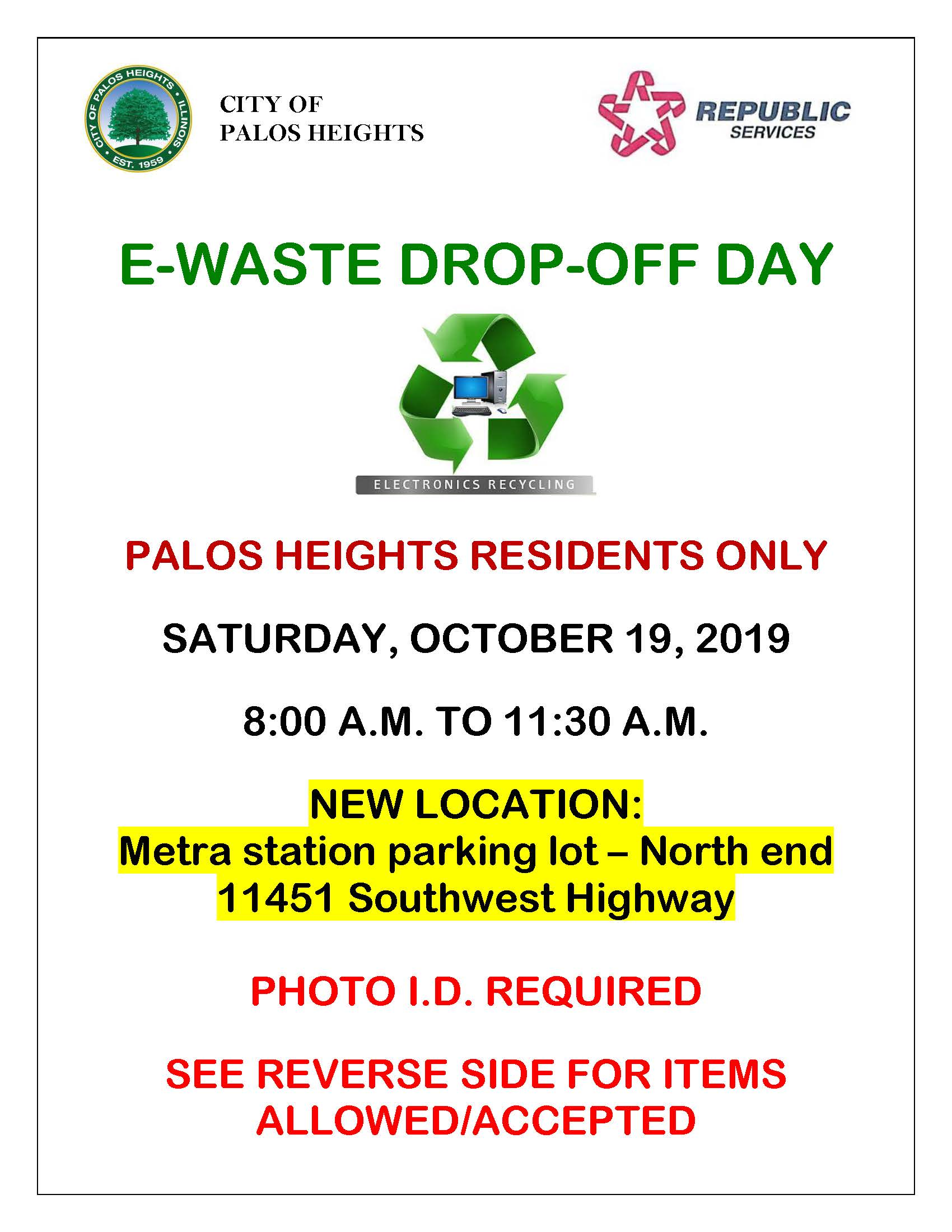 E-Waste Dropoff Day 10-19-19